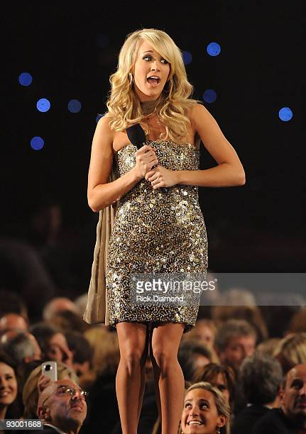 Carrie Underwood performs onstage during the 43rd Annual CMA Awards at the Sommet Center on November 11 2009 in Nashville Tennessee