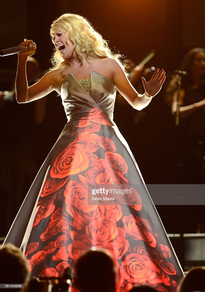 Carrie Underwood performs onstage during the 55th Annual GRAMMY Awards at STAPLES Center on February 10, 2013 in Los Angeles, California.