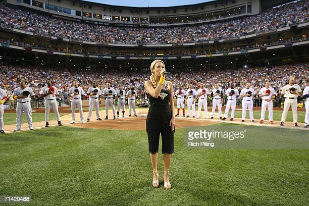 PITTSBURGH JULY 11 Carrie Underwood performs the National Anthem before the 77th AllStar Game at PNC Park July 11 2006 in Pittsburgh Pennsylvania