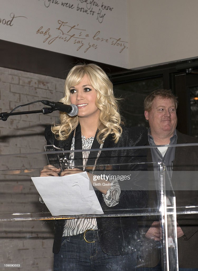 <a gi-track='captionPersonalityLinkClicked' href=/galleries/search?phrase=Carrie+Underwood&family=editorial&specificpeople=204483 ng-click='$event.stopPropagation()'>Carrie Underwood</a> speaks at the Blown Away #1 Party at ASCAP Building on January 16, 2013 in Nashville, Tennessee.