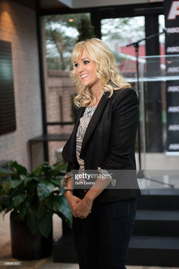 <a gi-track='captionPersonalityLinkClicked' href=/galleries/search?phrase=Carrie+Underwood&family=editorial&specificpeople=204483 ng-click='$event.stopPropagation()'>Carrie Underwood</a> talks to the camera and attends the Blown Away #1 Party at ASCAP Building on January 16, 2013 in Nashville, Tennessee.