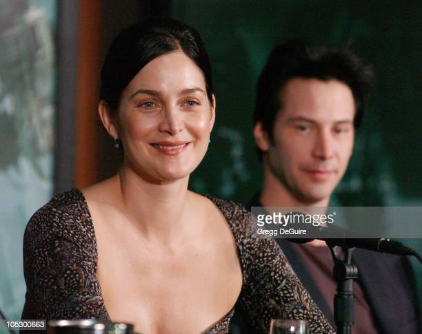 CarrieAnne Moss and Keanu Reeves during Los Angeles Press Conference with The Cast of 'The Matrix Revolutions' at Disney Concert Hall in Los Angeles...