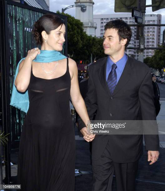 CarrieAnne Moss and Steven Roy during 'The Matrix Reloaded' Premiere at Mann Village Theater in Westwood California United States