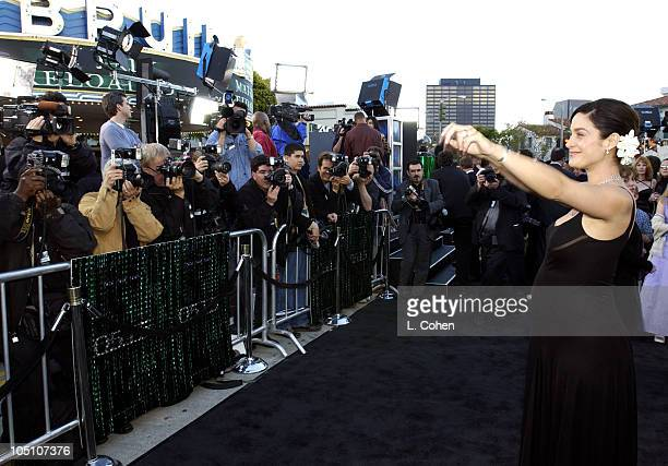 CarrieAnne Moss during 'The Matrix Reloaded' Premiere Black Carpet at Mann Village Theater in Westwood California United States