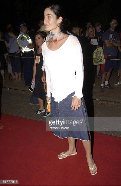 FEB 2002 CarrieAnne Moss posing for the press at the Intel tropfest 2002 Tropfest is the world's largest short film festival and is held one night in...