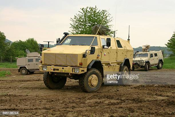 Carrier military vehicle KMW Dingo-2 on the unmade road