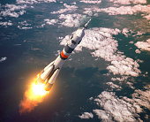 Carrier Rocket Launch In The Pink Clouds. 3D Illustration.