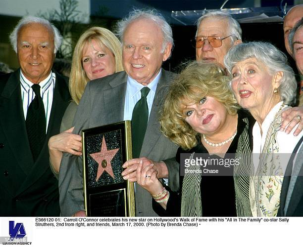 Carroll O''Connor celebrates his new star on Hollywood's Walk of Fame with his 'All In The Family' costar Sally Struthers 2nd from right and friends...