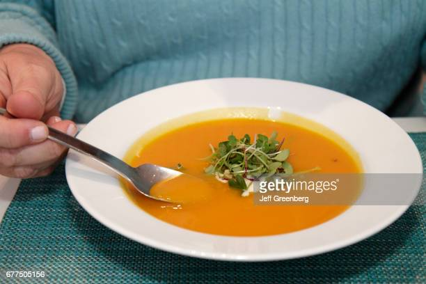 A carrot ginger soup from the Terrace 5 caf_ at The Museum of Modern Art on 53rd Street Manhattan