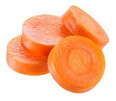Carrot slices isolated on white. With clipping path.