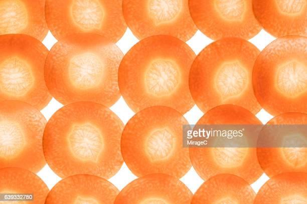 Carrot Slices on White Background