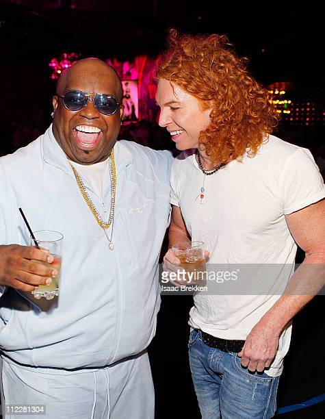 Carrot Top and Ceelo Green attend the grand opening of Gallery Nightclub at the Planet Hollywood Resort Casino on April 16 2011 in Las Vegas Nevada