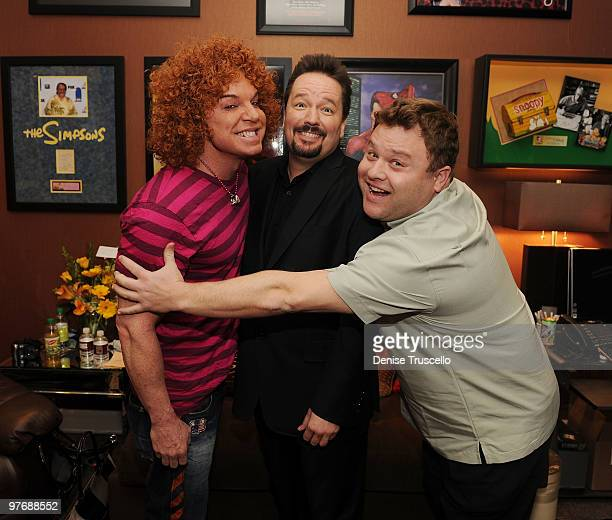 Carrot Top Terry Fator and Frank Caliendo backstage at Terry Fator's one year anniversary show at The Mirage Hotel and Casino on March 13 2010 in Las...