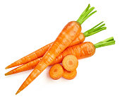 Fresh carrots isolated on white Clipping Path