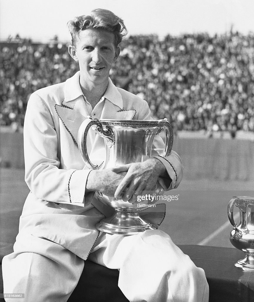 Tennis Player Don Budge Holding U S National Trophy