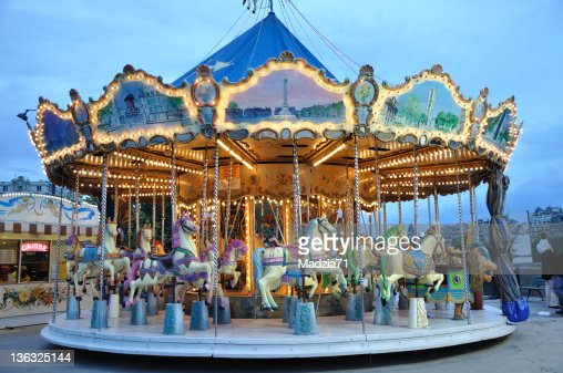 Carrousel at dusk : Stock Photo