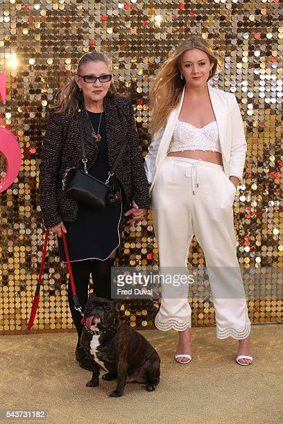 Carry Fisher and Billie Catherine Lourd attend the World Premiere of 'Absolutely Fabulous' at Odeon Leicester Square on June 29 2016 in London England