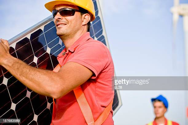 Carrying a photovoltaic panel