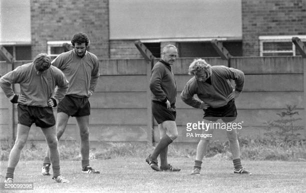 Carrying on until his successor is appointed Liverpool manager Bill Shankly during a training session on the team's first day back at Anfield
