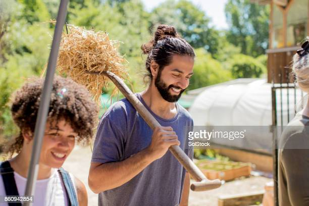 Carrying Straw Through the Farm