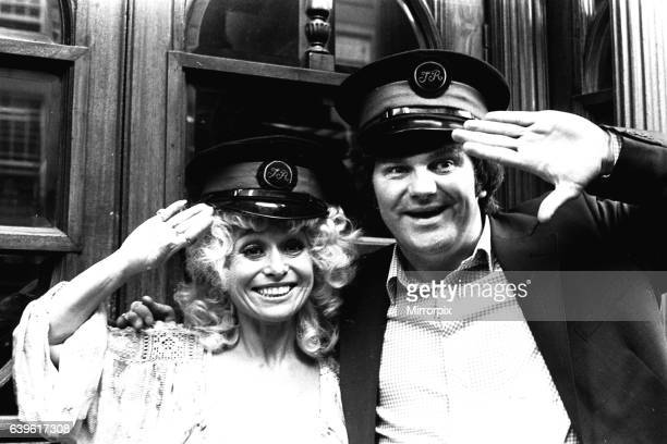 Carryon actress Barbara Windsor with local comedian Spike Rawlings outside the Threatre Royal Newcastle on 7th August 1980 where they are appearing...