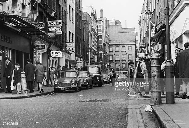 Cars and pedestrians on London's fashionable Carnaby Street March 1967