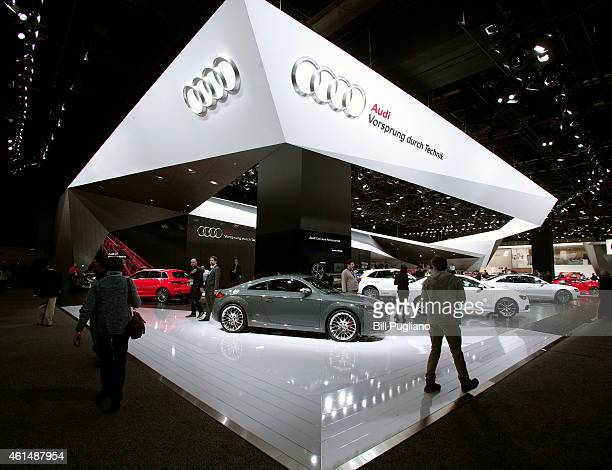 Cars are displayed at the Audi exhibit is shown at the 2015 North American International Auto Show on January 13 2015 in Detroit Michigan More than...