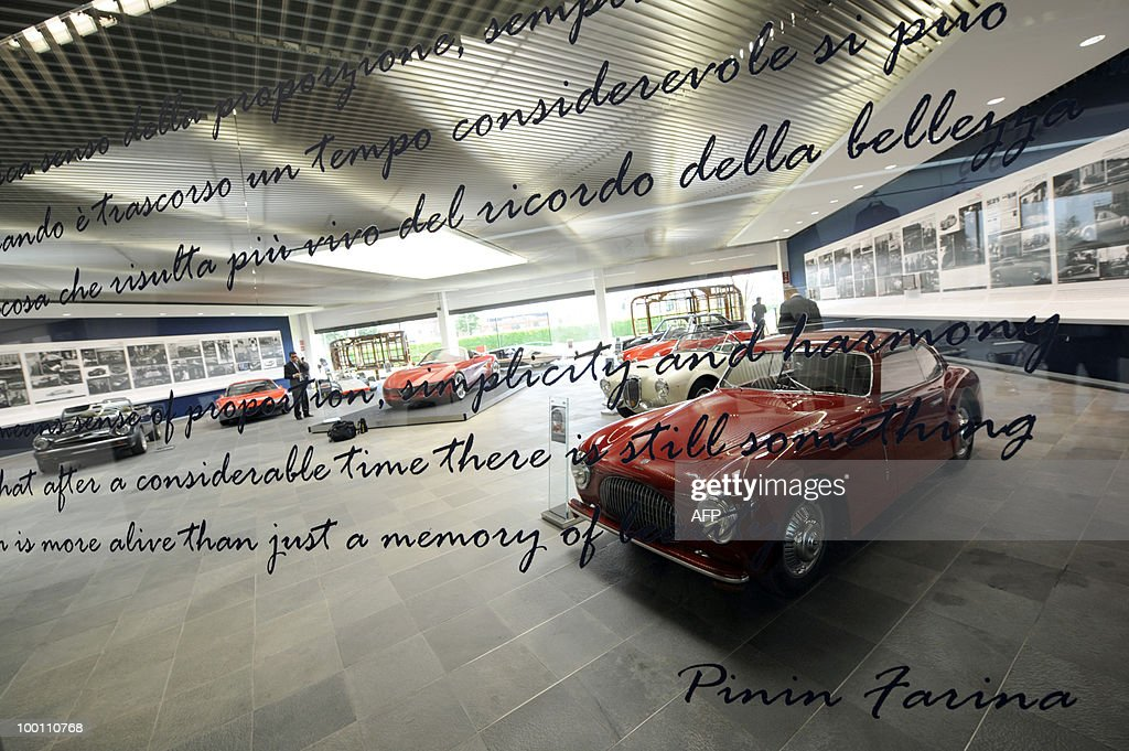 Cars are displayed in the Pininfarina Museum during the 80th anniversary of Pininfarina group in Cambiano near Turin on May 21, 2010.