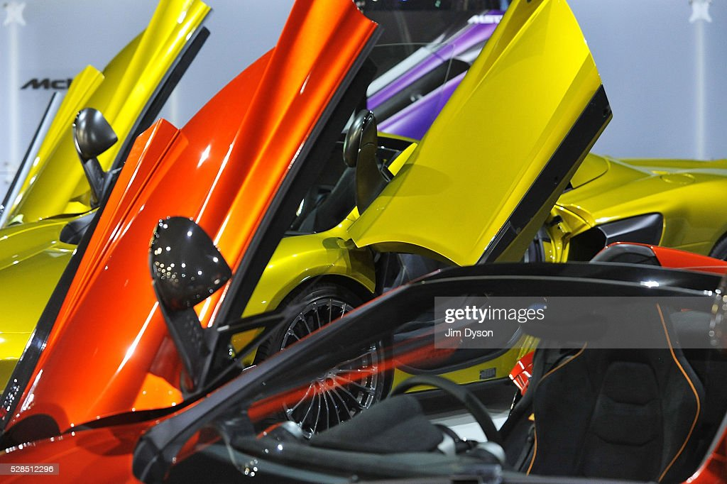 Cars are displayed on the McLaren stand during the 2016 London Motor Show at Battersea Evolution Marquee on May 5, 2016 in London, England. The show, returning for the first time in eight years, will run from 6-8 May.
