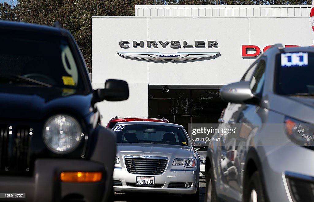 Cars are displayed on the sales lot of a Chrysler dealership on January 3, 2013 in Colma, California. Chrylser and General Motors led automakers in the best sales year since 2007. Chrysler's December sales jumped 10% while GM's was up 4.9%.