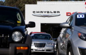 Cars are displayed on the sales lot of a Chrysler dealership on January 3 2013 in Colma California Chrylser and General Motors led automakers in the...