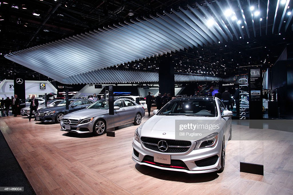 Cars are displyed at the Mercedes exhibit is shown at the 2015 North American International Auto Show on January 13 2015 in Detroit Michigan More...