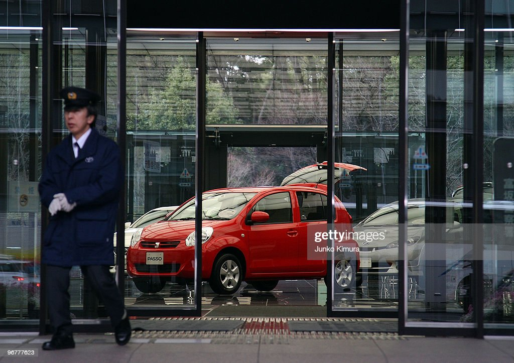 Cars are on display at Toyota Motor Corporation's Tokyo headquarters on February 17, 2010 in Tokyo, Japan. Toyota promised a brake-override system in all future models worldwide, also will set up third-party research organization to test its electronic throttle control system.