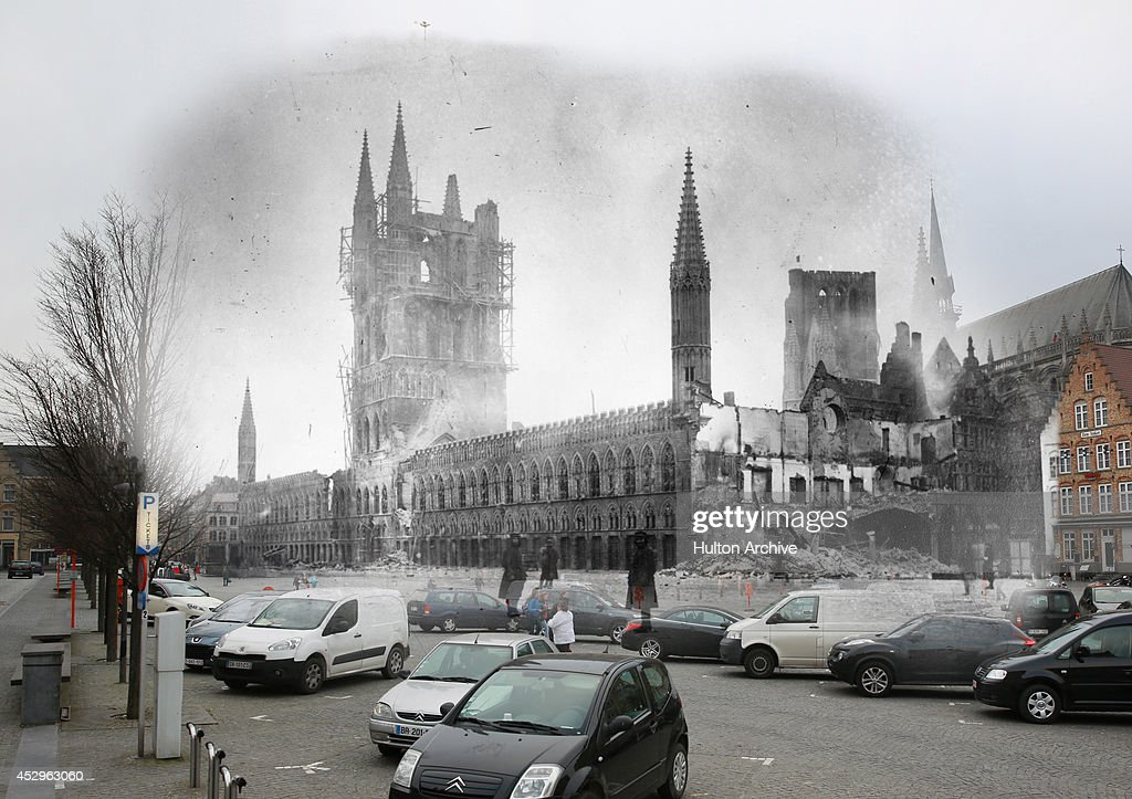 In this composite image a comparison has been made of Les Halles in the Grote Markt. Commemorations of The First World War Centenary begin in 2014 and will last until 2018. Cars are parekd near Les Halles in the Grote Markt on March 10, 2014 in Ypres, belgium. A number of events will be held this year to commemorate the centenary of the start of World War One. Les Halles in the Belgium town of Ypres, the site of three major battles during World War I, and almost completely devastated by bombing. 1915