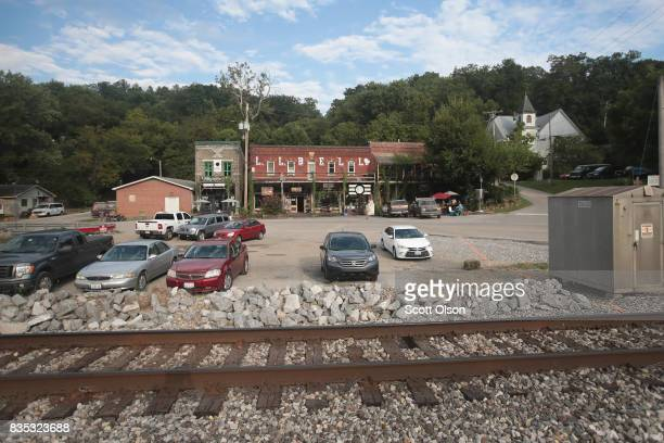 Cars are parked in downtown Makanda as the village begins to see an influx of visitors leading up to Monday's solar eclipse on August 18 2017 in...