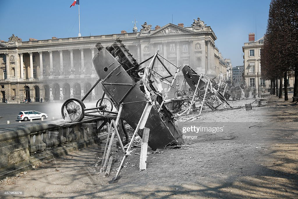 In this composite image a comparison has been made of Place de la Concorde. Commemorations of The First World War Centenary begin in 2014 and will last until 2018. Cars are parked near Place de la Concorde on March 12, 2014 in Paris, France. A number of events will be held this year to commemorate the centenary of the start of World War One. World War I, German airplanes at Place de la Concorde in Paris, wrecked by celebrating crowds on the day of the restoration of Alsace-Lorraine. November 18, 1918.