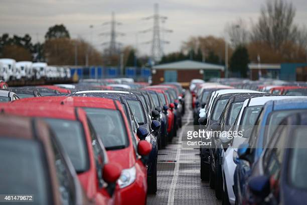 Cars are prepared for distribution at a Ford factory on January 13 2015 in Dagenham England Originally opened in 1931 the Ford factory has unveiled a...