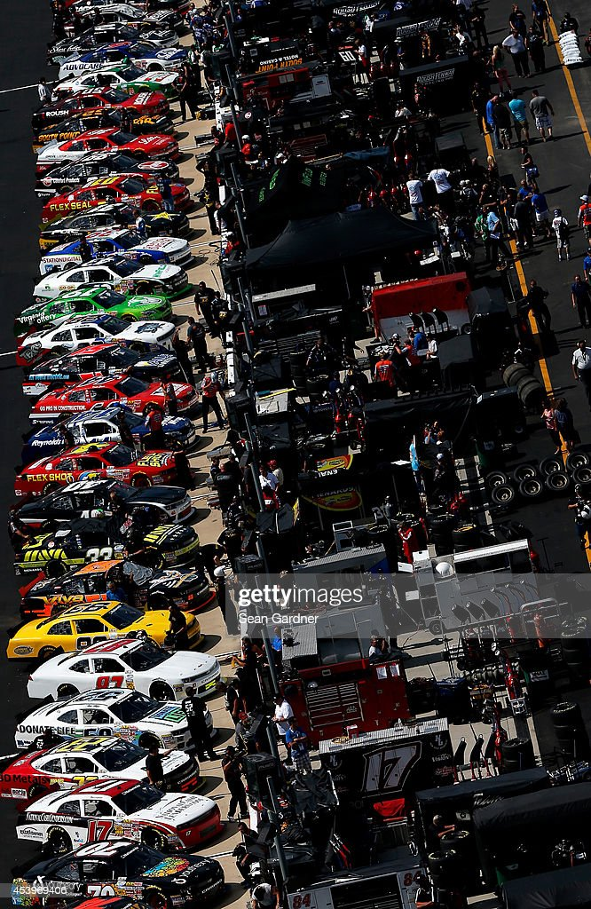 Cars are seen on pit road during qualifying for the NASCAR Nationwide Series Food City 300 at Bristol Motor Speedway on August 22, 2014 in Bristol, Tennessee.
