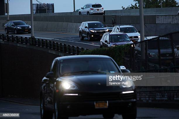 Cars are viewed along a highway in Brooklyn New York at the start of the busy Labor Day weekend on September 4 2015 in New York With gas prices at...