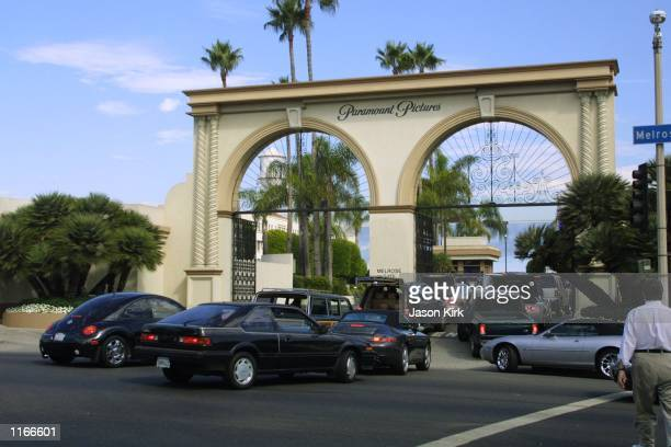 Cars back up outside the Paramount main gate September 24 2001 in Hollywood CA Barricades were set up entrances were sealed off and vehicles were...