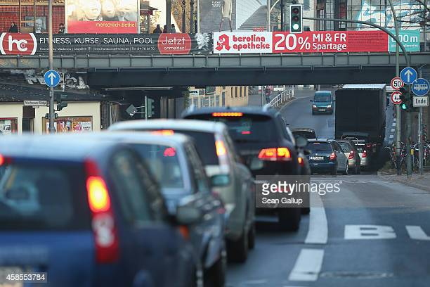 Cars clog a road under an SBahn commuter train station in Zehlendorf district on the second day of a fourday strike by the GDL train drivers labor...