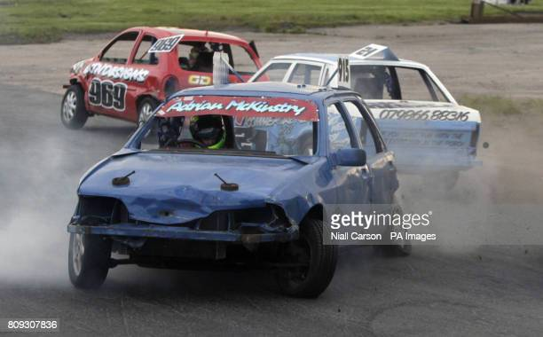 Cars collide in the opening heat of the prostock stock car racing event at Nutts Corner in Crumlin Northern Ireland Picture date Saturday June 11th...