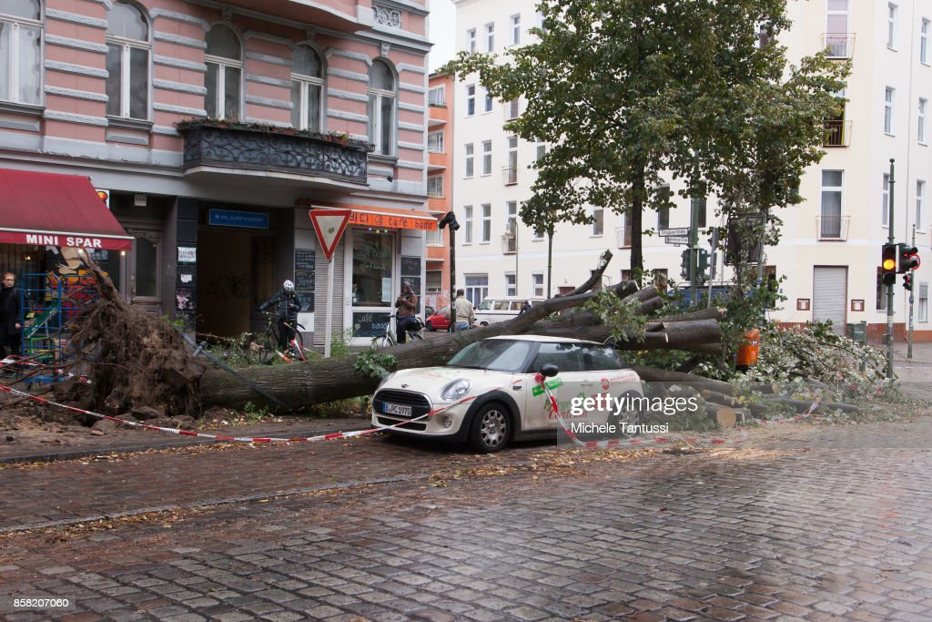 Cars damaged by uprooted trees and fallen branches in Kreuzberg district following a storm front on October 6, 2017 in Berlin, Germany. Storm front 'Xavier' is hitting northern and central Germany hard, leading to the closure of airports, rail lines, commuter trains and buses and even highways across the region. Authorities are reporting four deaths so far, in Brandenburg state and one in Brlin.