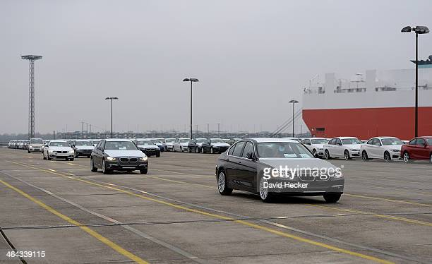 BMW cars destined for export overseas are driving to be loaded onto ships on January 22 2014 in Bremerhaven Germany Bremerhaven is Europe's biggest...