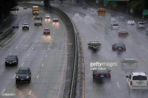 Cars drive alone Interstate 280 on February 26 2014 in San Francisco California During a visit to St Paul Minnesota US President Barack Obama...