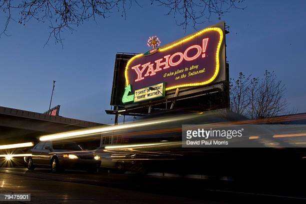 Cars drive down 6th Street past a Yahoo billboard February 1 2008 in San Francisco California In an effort to compete with internet leader Google Inc...