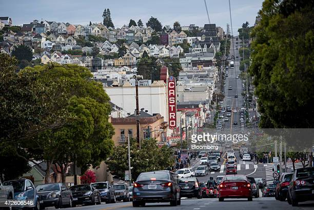 Cars drive down Castro Street in San Francisco California US on Thursday May 7 2015 San Francisco Mayor Ed Lee will seek voter approval for the first...