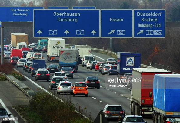 Cars drive in a heavy traffic on the Autobahn A3 near Ratingen on 16 November 2007While travelers are coping with the strike by using different modes...