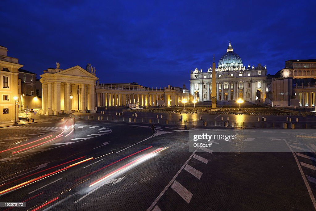 Cars drive past Saint Peter's Square in the early morning ahead of Pope Benedict XVI's last public audience on February 26, 2013 in Rome, Italy. The Pontiff will hold his last weekly public audience on February 27, 2013 before he retires the following day. Pope Benedict XVI has been the leader of the Catholic Church for eight years and is the first Pope to retire since 1415. He cites ailing health as his reason for retirement and will spend the rest of his life in solitude away from public engagements.
