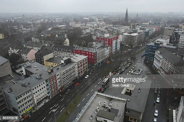 Cars drive through the city center on March 10 2009 in Bochum Germany German automaker Opel owned by General Motors employs 5300 people in Bochum and...